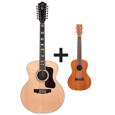 Guild F-512 12-String Acoustic Sitka/Rosewood Natural with Free Cordoba 15CM Ukulele for sale