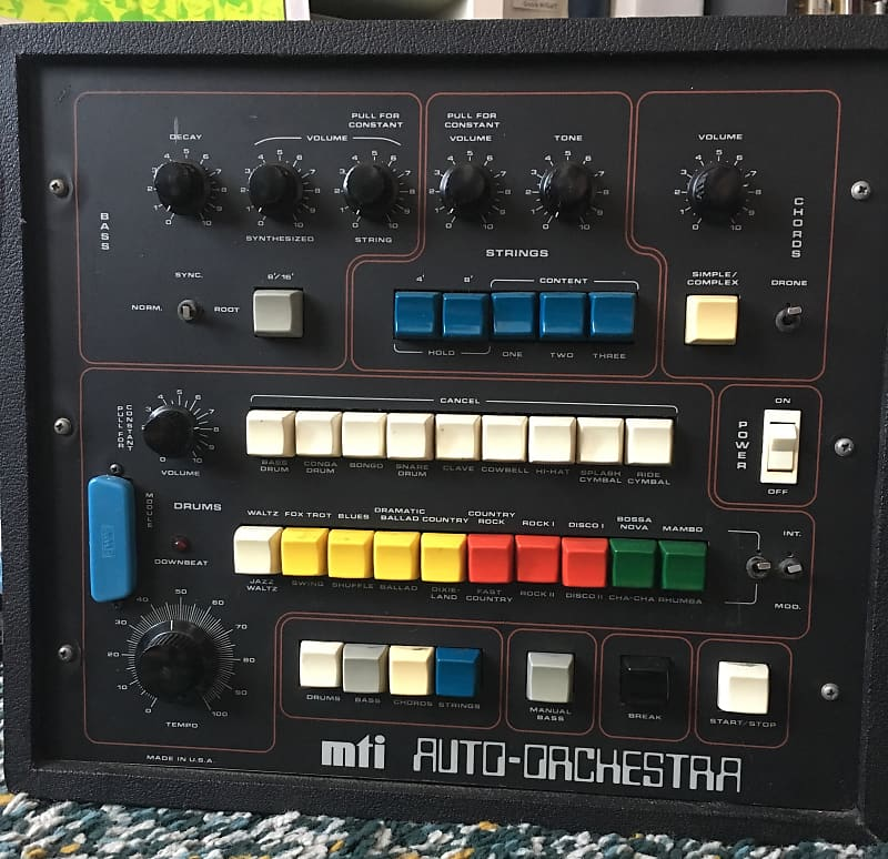 mti auto orchestra vintage drum machine with synth bass and reverb. Black Bedroom Furniture Sets. Home Design Ideas
