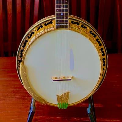 Ome Grand Artist Millenium Megatone 400 Custom Carved Presentation Five String Banjo for sale