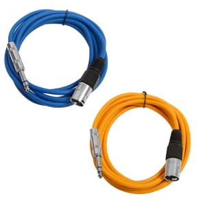 "Seismic Audio SATRXL-M10-BLUEORANGE 1/4"" TRS Male to XLR Male Patch Cables - 10' (2-Pack)"