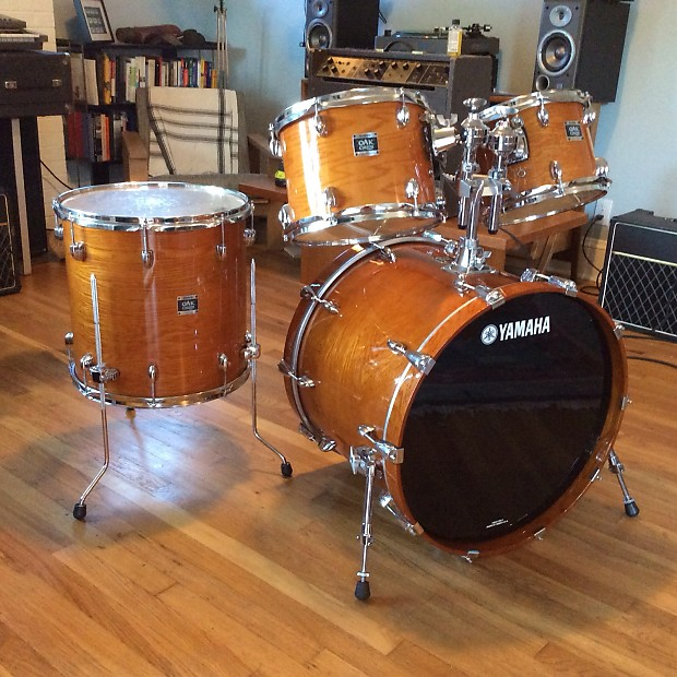 yamaha oak custom amber 4 piece drum set 22 16 12 10 with reverb. Black Bedroom Furniture Sets. Home Design Ideas