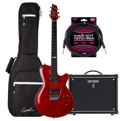 Godin (047604) DS-1 Daryl Stuermer Signature Electric Guitar, Boss Katana-50 MkII, ErnieBall Cable Bundle