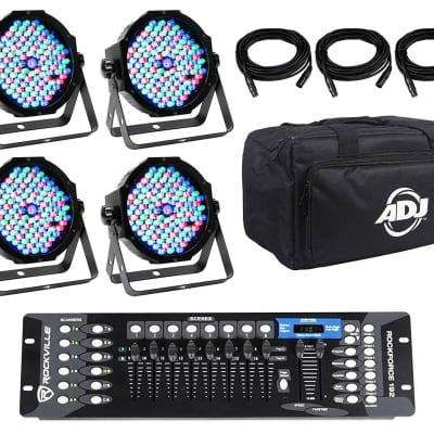 American DJ MEGA FLAT PAK 4x Mega Par Profile+DMX Cables+Bag+DMX Controller