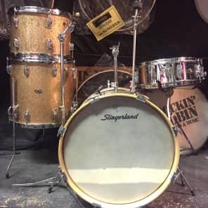 "Slingerland  18"" Bass,4 piece trap kit 1966 Champagne Sparkle"