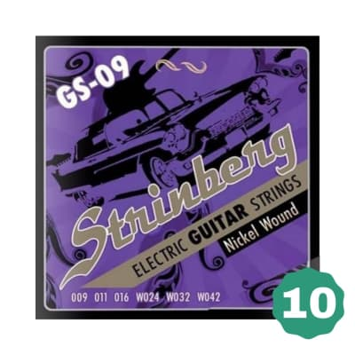New Strinberg GS-09 Extra Light Nickel Wound Electric Guitar Strings (10-PACK)