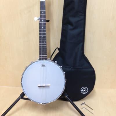 Caraya BJ-30 5-String Irish Tenor Banjo,Black Matt,Open-Back,Gloss Milky Top+Bag for sale
