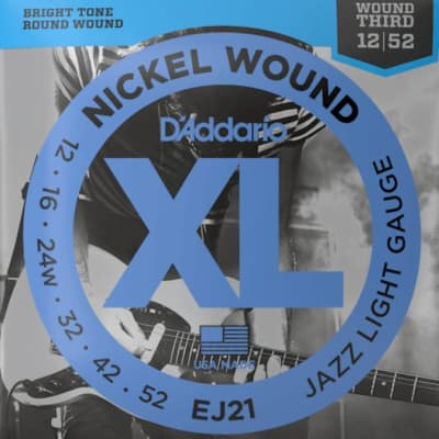 D'Addario EJ21 12-52 Nickel Wound Jazz Light Guitar Strings