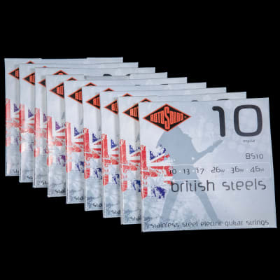 Rotosound BS10 British Steels Electric Guitar Strings 10-46, Lot of Nine