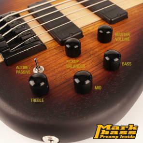 Cort C5 Plus ZBMH OTAB Artisan Series Zebrawood/Maple 5-String Bass Open Pore Tobacco Burst