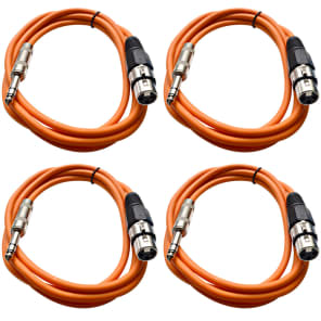 """Seismic Audio SATRXL-F6-4ORANGE 1/4"""" TRS Male to XLR Female Patch Cables - 6' (4-Pack)"""