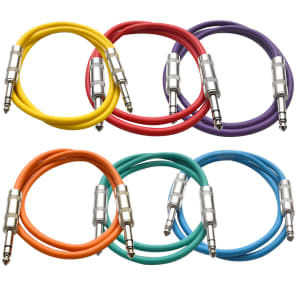 """Seismic Audio SATRX-2BGORYP Multi-ColoRED 1/4"""" TRS Patch Cables - 2' (6-Pack)"""