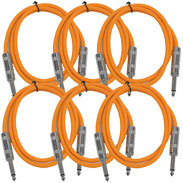 "Instrument SEISMIC AUDIO New 6 PACK Orange 1//4/"" TS 10/' Patch Cables Guitar"