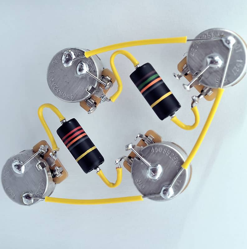Les Paul ® Type Wiring Harness by JEL - CTS 525k Long Shaft | Reverb