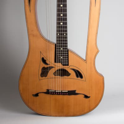 Luigi Mozzani  Lyre Harp Guitar,  c. 1905, ser. #111, black hard shell case. for sale