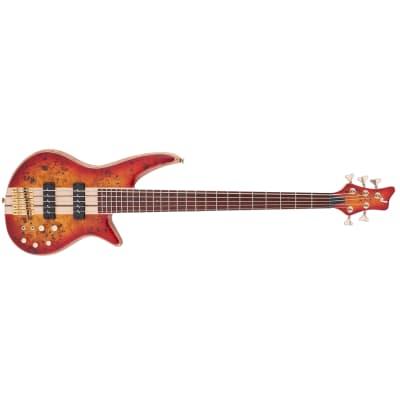 Jackson Pro Series Spectra Bass SB V Poplar Burl Guitar Transparent Cherry Burst