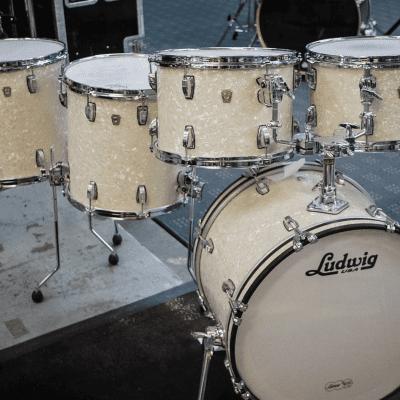 Custom Ludwig 5 Piece Downbeat Classic Maple Drum Kit Vintage Marine Pearl