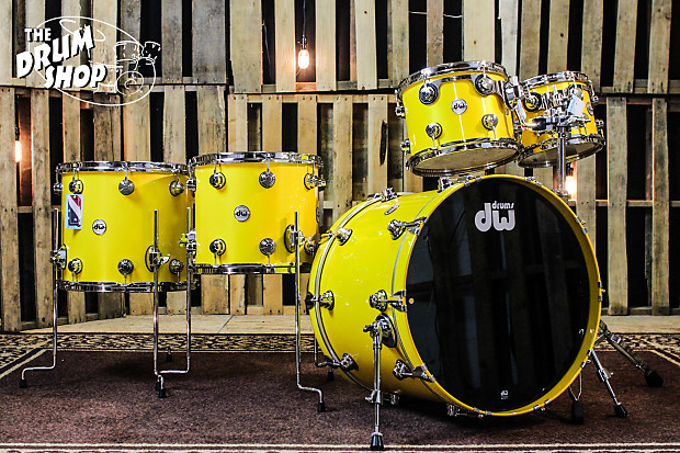 Dw Collector S Series Drum Set Solid Chrome Yellow With Reverb