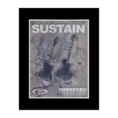 2001 Fernandes Raven and Monterey Guitars Original Magazine Ad Double Matted for 11 x 14 Frame