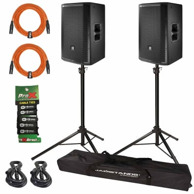 (2) JBL PRX812W Two-Way Main System/Floor Monitors with Stands & Orange Cables
