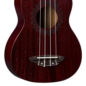 Luna Vintage Mahogany Red Satin Soprano Ukulele for sale