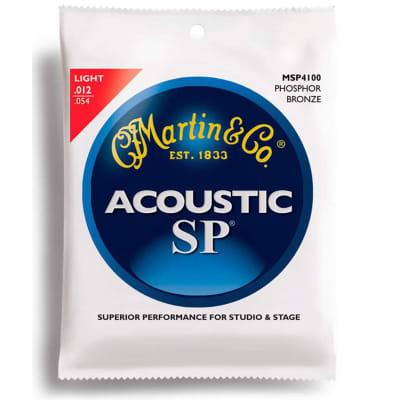 Martin MSP4100 SP 92/8 Phosphor Bronze Acoustic Guitar Strings, Light