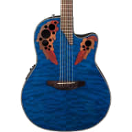 Ovation Celebrity Elite Plus Guitar CE44P-8TQ Trans Blue w/ Zero-Gravity Case for sale