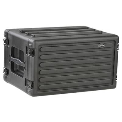 SKB Roto-Molded 6U Shallow Rack Case with Steel Rails (Front/Back), 10.5  Deep (Rail-to-Rail)