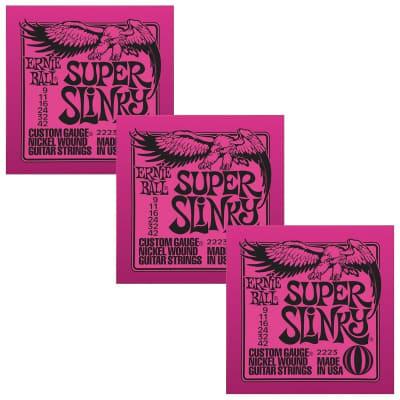 ERNIE BALL Super Slinky Nickel Wound Electric Guitar Strings (2223) - 3 Pack