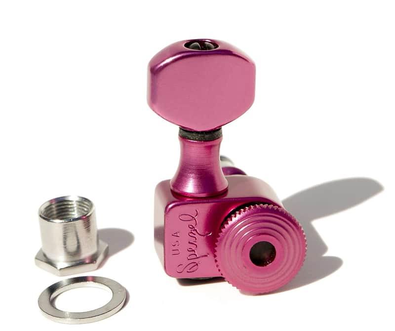 PINK /& BLACK Sperzel 6-In-Line Trimlok Locking Tuners Staggered Tuning Pegs