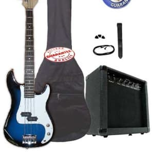 Electric Bass Guitar Pack with 20 Watts Amplifier, Gig Bag, Strap, and Cable, Blueburst for sale