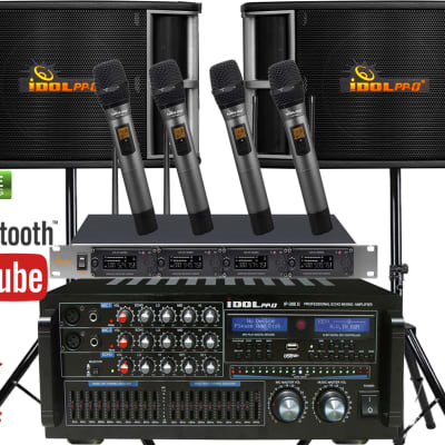 IDOLPRO 1400W Perfect Home Karaoke System With Dual Wireless Microphones 2019