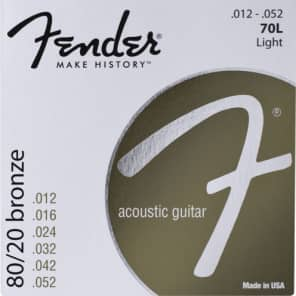 Fender 80/20 Bronze Acoustic Strings - Light .012 - .052 for sale