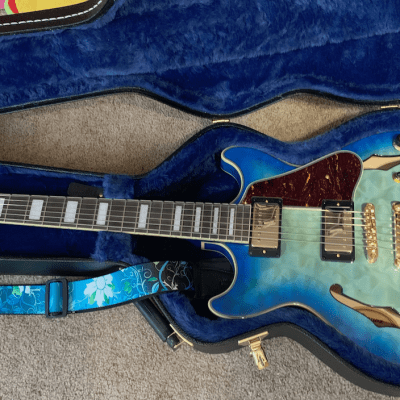 Ibanez AM93QM Artcore Expressionist Semi-Hollow Body Jet Blue Burst w/Ibanez Hardshell Case