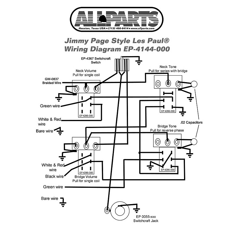 wiring kit-gibson® jimmy page les paul complete with | reverb  reverb