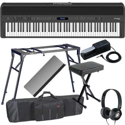 New Roland FP-90 Black Portable Stage Piano 88 Weighted Key with 4-legged Stand, X Bench, Keyboard Carrying Bag and Headphones