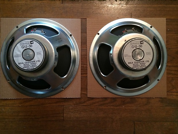 vintage Rola Celestion G12-30 speakers 16ohm made in UK Ditton Works PAIR