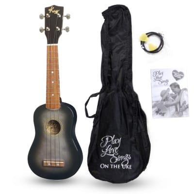 Kay U12PBKS Black Smoke Soprano Ukulele Package (Free Shipping) for sale
