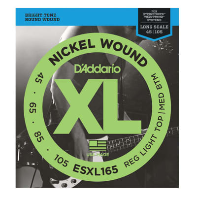 D'Addario ESXL165 Double Ball End Light Top Medium Bottom Bass 45-105