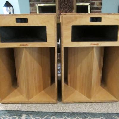 """Pr Klipsch LaScala Natural Horn Speakers Top Line, 1980s, 3 Ways, Horn Loaded 15"""" Woofer, Efficient,"""