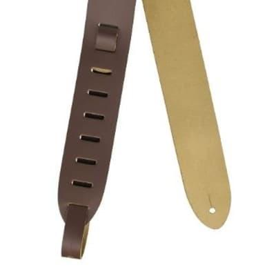 Levys 2'' Chrome-tan Leather Guitar Strap. Adjustable 36'' To 52'', Brn