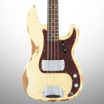 Fender Custom Shop 1960 Heavy Relic Precision Electric Bass (with Case), Aged Vintage White for sale