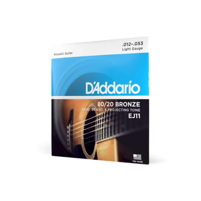 D'Addario EJ11-3D 80/20 Bronze Acoustic Guitar Strings, Light, 12-53, 3 Sets