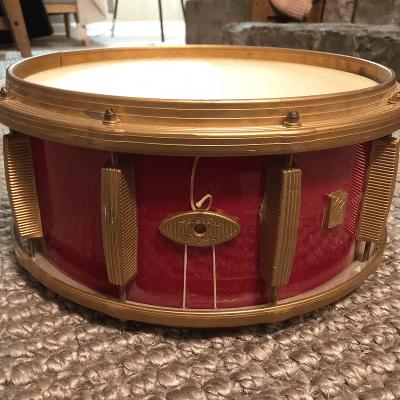 """Mastro 5.5x13"""" Plastic Snare Drum Red Sparkle 1960s"""