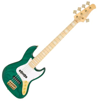 Swing Jazz 5V Emerald Green 4String Electric Bass Swamp Ash Gold Hardware 34