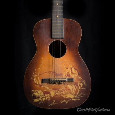 Vintage 1940s Supertone Gene Autry Acoustic Guitar with Kluson Tuners - Luthier Repair for sale