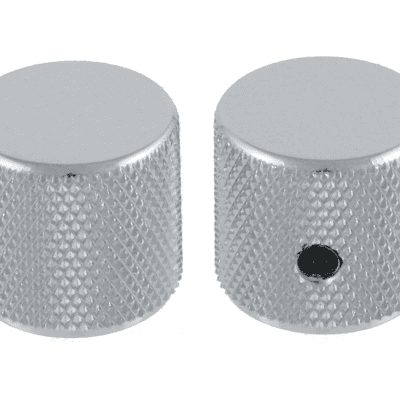 """2 Allparts Chrome Barrel Knobs With Set Screw For Guitar and Bass Fits USA 1/4"""" Solid Shaft Pots!"""