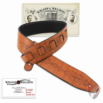Walker & Williams G-512 London Tan Tooled Leather Strap with Padded Glovesoft Back image