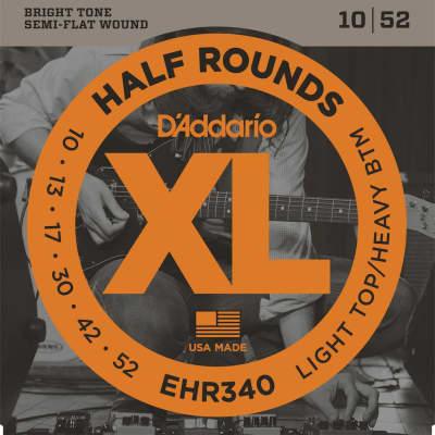 D'Addario EHR340 Half Round Electric Guitar Strings, Light Top/Heavy Bottom, 10-52