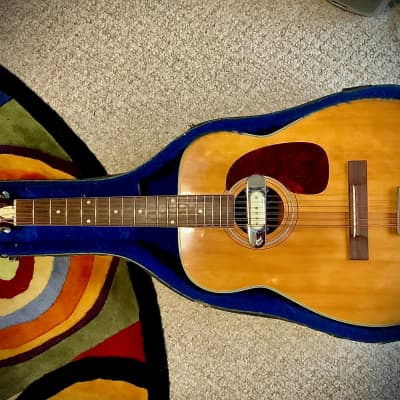 Harmony Sovereign H-1270 12 String Acoustic Jumbo Guitar 1960's with DeArmond Rowe RHC-B 210 Pickup! for sale