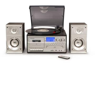 Crosley CR7014A-BK Eclipse Entertainment Center  Black, turntable, cassette, speakers, am fm radio